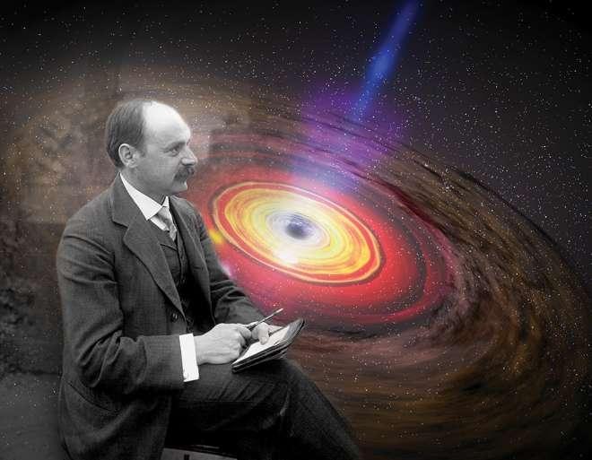 Karl Schwarzschild (1873-1916) était un brillant physicien et astrophysicien allemand. Il a trouvé la première solution exacte des équations relativistes du champ de gravitation décrivant une étoile simple, homogène, statique et à symétrie sphérique. Cette solution est à la base de la théorie moderne des trous noirs. On voit, à l'arrière plan, une image d'artiste d'un disque d'accrétion entourant un trou noir. © 2015, American Institute of Physics