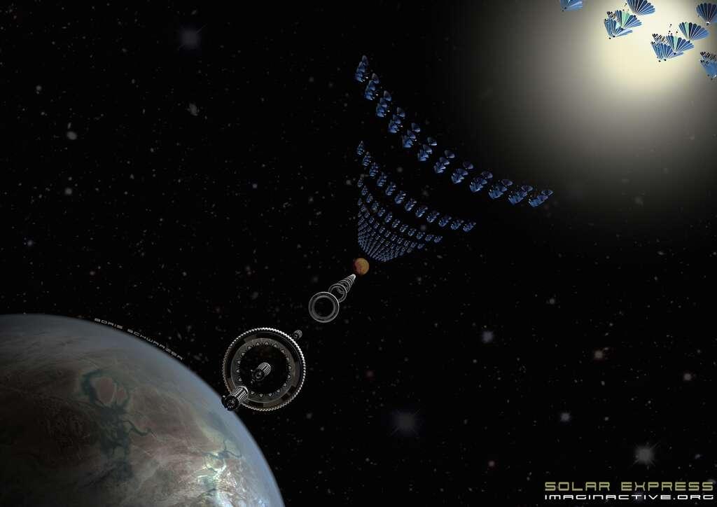 Des panneaux situés sur la trajectoire du train spatial pourraient capter l'énergie solaire et la transférer par laser à des supercondensateurs. © Imaginactive