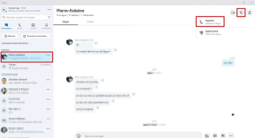 Démarrez une discussion vocale sur Skype comme vous avez l'habitude de faire. © Microsoft