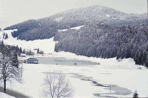 Ce lac situé près des Rousses (Jura) est en réalité une doline étanche, remarquable à sa forme circulaire. © DR