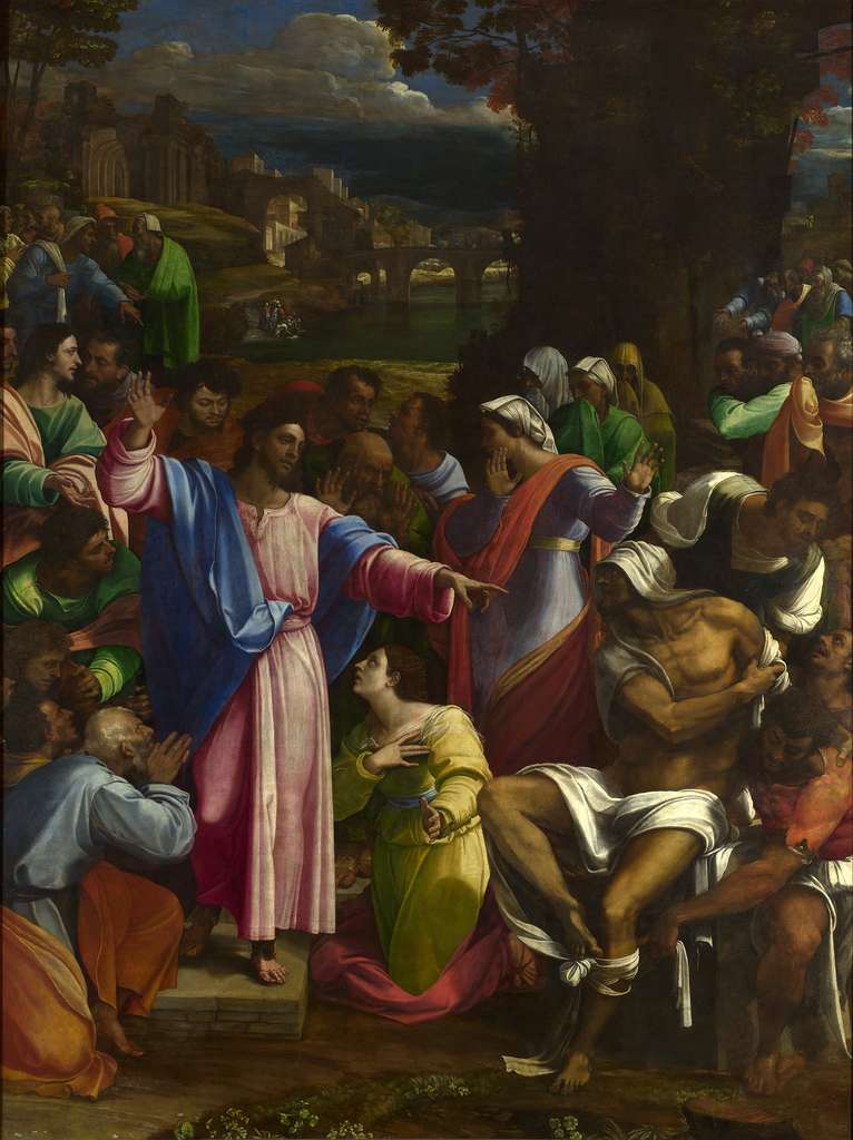 La résurrection de Lazare, 1519, peinture de Sebastiano del Piombo, exposée à la National Gallery. © Sebastiano del Piombo, Domaine Public