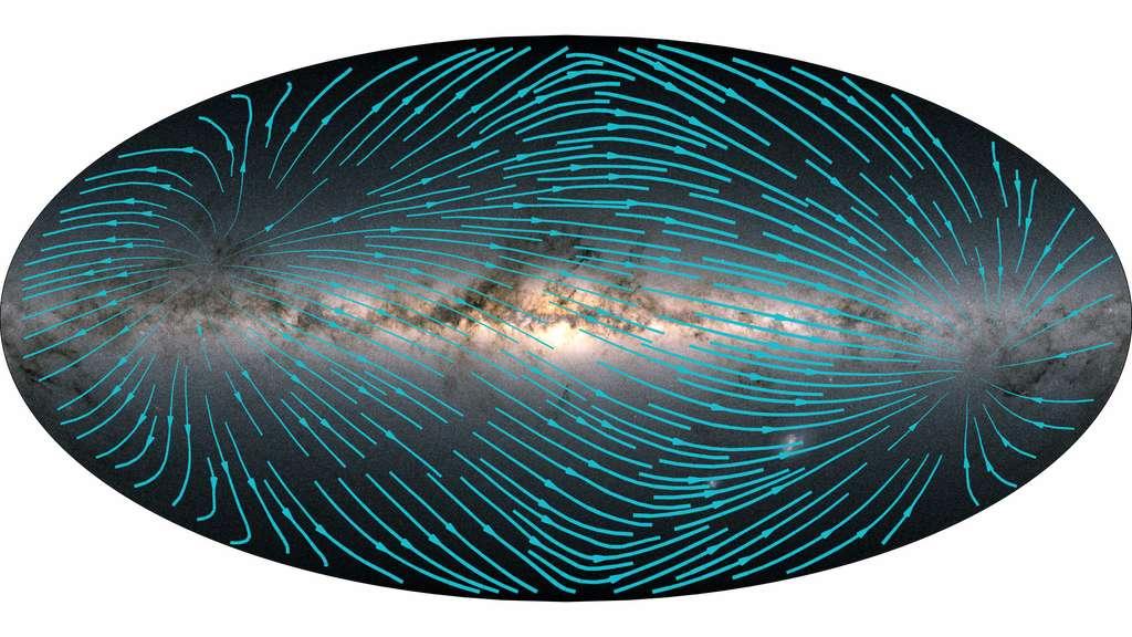 Mouvement des étoiles de la Galaxie dans un rayon de 1.000 parsecs du Système solaire à travers le ciel terrestre relevé par le satellite Gaia. Plus le trait est épais, plus le mouvement est important. © ESA, Gaia, DPAC, CC BY-SA 3.0 IGO