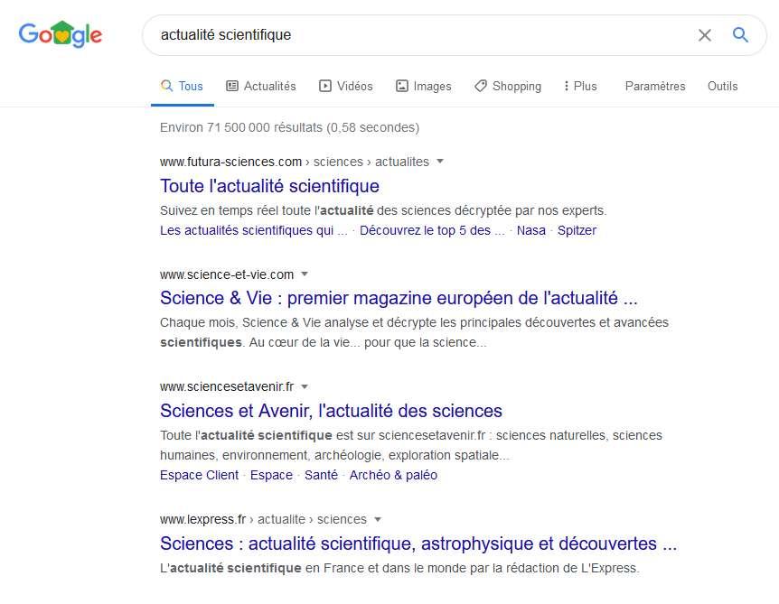 Apparaître dans les premiers résultats de recherche est primordial pour augmenter le trafic en provenance de Google © Futura