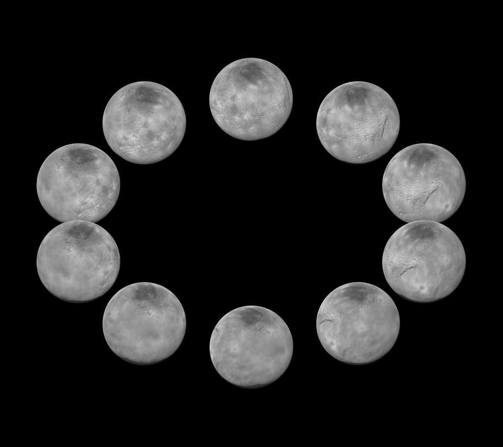 Dix images composites de Charon prises entre le 7 et le 14 juillet 2015. En se rapprochant, New Horizons offre des clichés plus détaillés des paysages de ce compagnon de Pluton dont la rotation est aussi de 6,4 jours. © Nasa, JHUAPL, SwRI