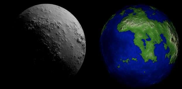 Exemple de topographie synthétiques d'exoplanètes, sans présence d'océan (à gauche) ou avec un océan (à droite). © Landais, Schmidt et Lovejoy, 2019