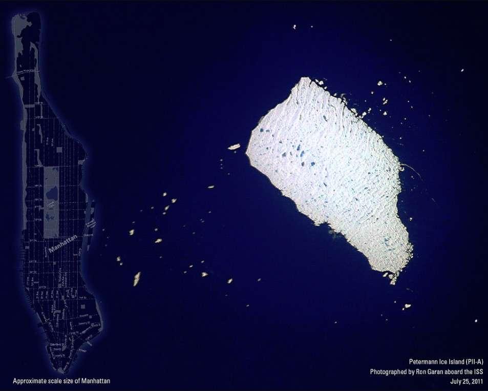 C'est à bord de l'ISS que l'astronaute Ron Garan a pris ce cliché de l'île de glace Petermann le 25 juillet 2011. © Nasa/Ron Garan