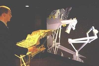 Simulateur du bras ERA installé dans les locaux de l'ESTEC (European Space Research and Technology Centre) à Noordwijk, (Pays Bas)