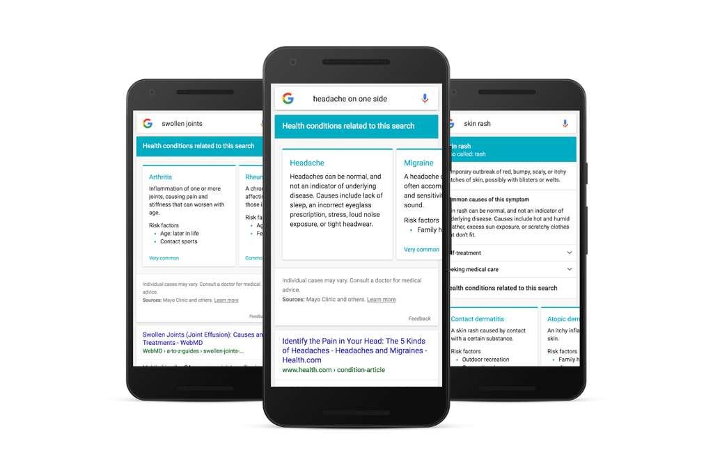 Voici à quoi ressemble la page Google contenant des informations médicales associées à un symptôme. Pour le moment, cette option est disponible aux États-Unis pour les requêtes en anglais tapées depuis un terminal mobile. © Google