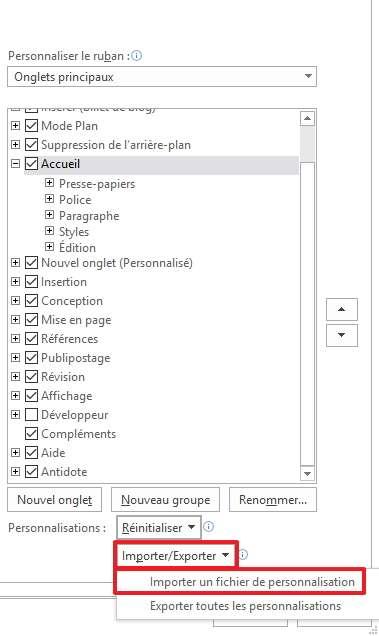Importez directement un fichier contenant toutes vos personnalisations sur un autre ordinateur. © Microsoft