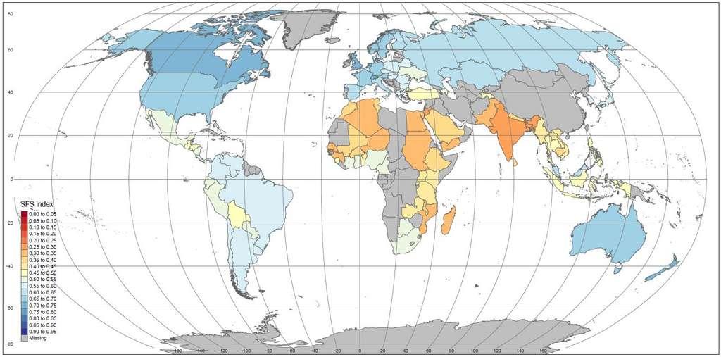 La carte des systèmes alimentaires les plus durables. L'échelle va du bleu foncé (meilleur score) ou rouge (plus faible score). Pour les pays en gris, les données sont insuffisantes. © Béné et al., Ciat