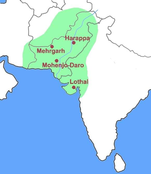 La civilisation de l'Indus occupait un vaste territoire, représenté sur cette carte. On reconnaît le sous-continent indien, l'actuel Pakistan et, en dessous, la mer d'Arabie. © MM, Wikipédia, cc by sa 3.0