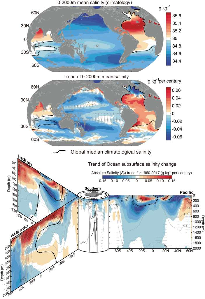 Dans le Pacifique, la salinité moyenne est plutôt faible, contrairement à ce qui est observé dans l'Atlantique et dans le nord de l'océan Indien. Sur les cartes du bas, les chercheurs observent des anomalies de salinité de surface qui ont tendance à pénétrer plus en profondeur. © Lijing Cheng, Académie des sciences chinoise