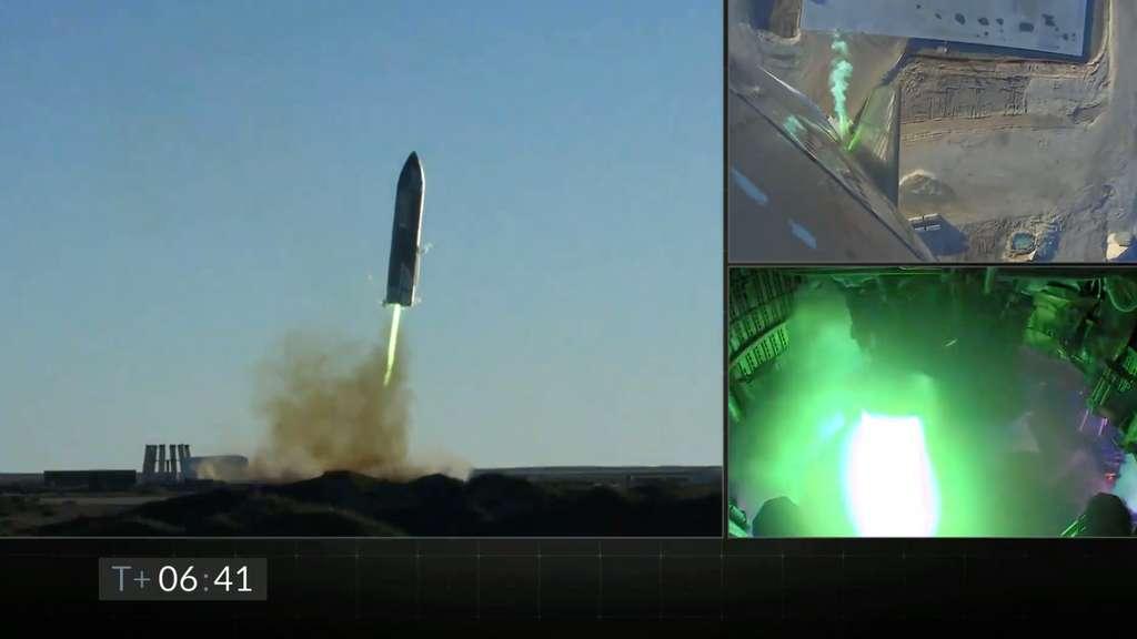 Le SN8 lors de son atterrissage « explosif », après un vol de démonstration remarquable. © SpaceX, Youtube