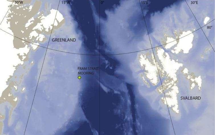 Sur cette carte, l'endroit où les chants des baleines boréales ont été enregistrés par des hydrophones amarrés sous la surface de l'eau. L'endroit n'est accessible en bateau qu'à la fin de l'été. © Kate Stafford, université de Washington