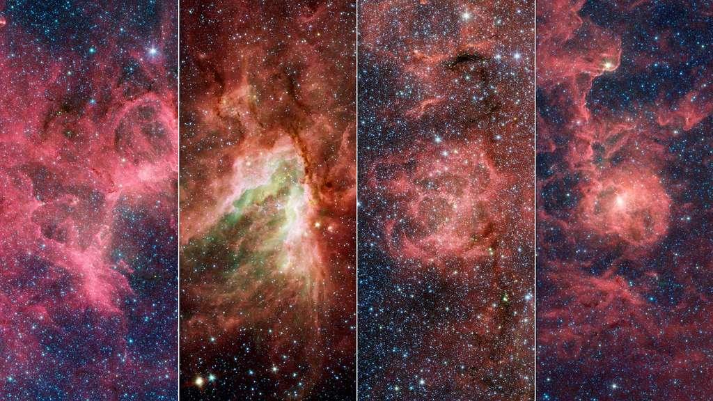 Les quatre nébuleuses qui composent l'« écharde » qui dépasse du bras du Sagittaire. © Nasa, JPL-Caltech