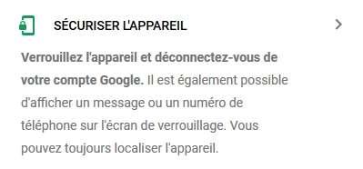 Cliquez sur « Sécuriser l'appareil ». © Google