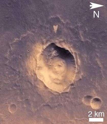 Un cœur soufflé par un impact météoritique dans Arabia Terra. © Nasa/JPL-Caltech/MSSS