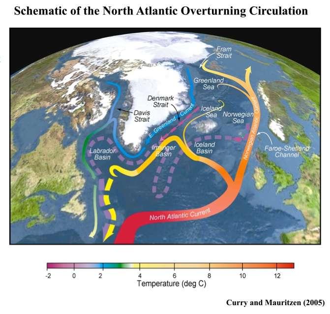 Une vue schématique des courants marins de la zone nord-atlantique. Tous ne sont pas à la même profondeur, d'où des superpositions. La couleur reflète la température de l'eau. On distingue en rouge et orange la dérive nord-atlantique, prolongement du Gulf Stream ; en bleu, le courant est-groenlandais passant par le détroit du Danemark, parallèle au nouveau courant nord-islandais en rose. L'eau profonde nord-atlantique arrivant en partie de la mer de Norvège est figurée en tirets violets. © Curry et Mauritzen