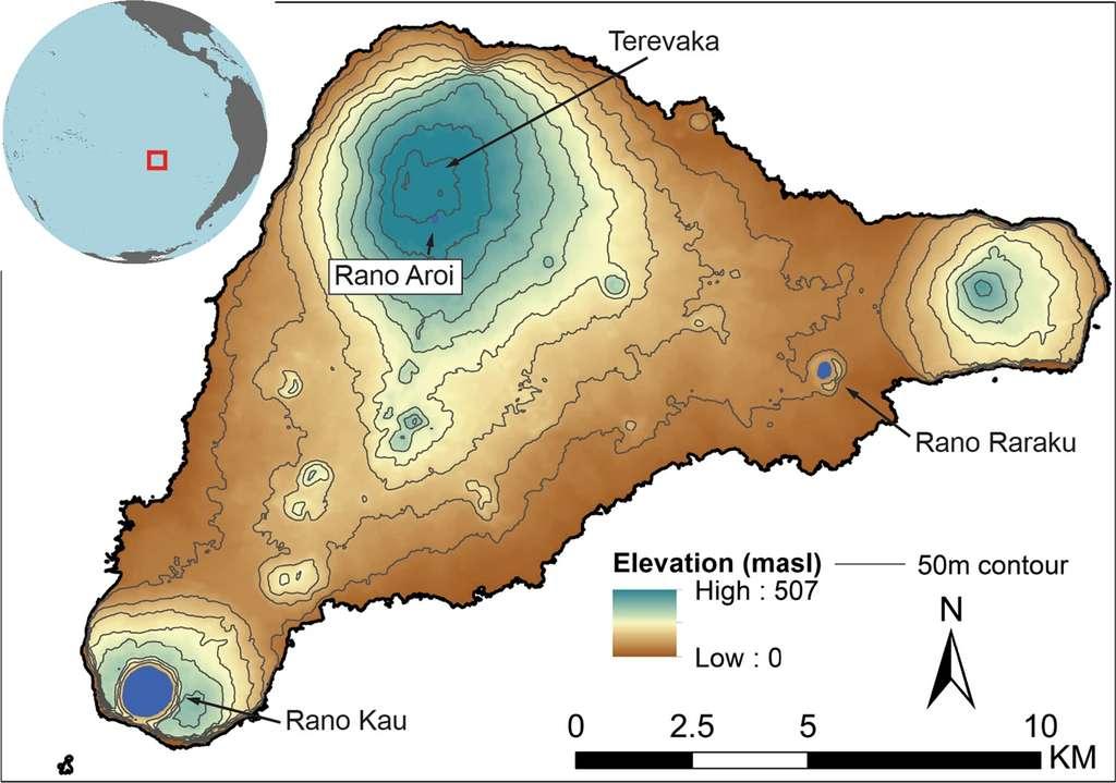 Les sédiments de plusieurs zones de l'île de Pâques ont été échantillonnés afin de déterminer les variations de taille de la population au cours du temps. © DiNapoli et al, 2021