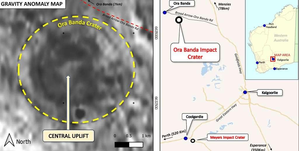 Une carte des anomalies de gravité montre l'anneau du cratère ainsi que le pic central des roches qui est l'équivalent de celui qui se forme avec une goutte d'eau dans un verre. Les roches sont en effet capables de se comporter comme un milieu fluide et élastique sous certaines contraintes. © Resource Potentials