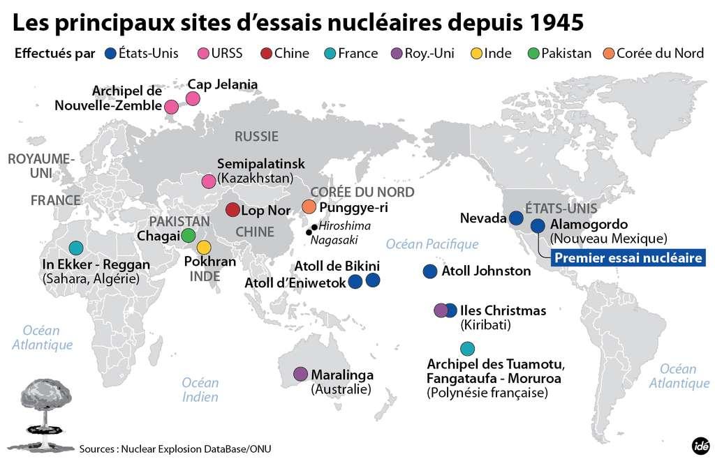 Depuis 1945, plus de 2.000 essais de bombes nucléaires, à fission ou à hydrogène, ont été effectués dans le monde. © Idé