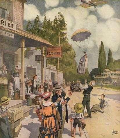 En 1900, l'automobile se démocratise à peine. L'arrivée du courrier par les airs, pour l'époque, était tout à fait remarquable. © Couverture de Literary Digest, le 31 mai 1919