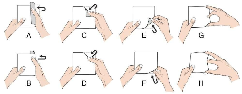 Les gestes qui ont obtenu un bon succès chez les testeurs. Tous ont utilisé les trois premières paires (A-B, C-D et E-F), mimant les mouvements de doigts servant intuitivement à feuilleter un livre. © Human Media Lab