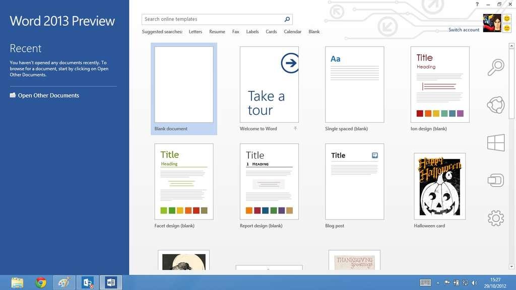 Word, comme Excel, PowerPoint et OneNote, fait partie des logiciels de la suite Office 2013 intégrée par défaut à Windows 8 RT, la version pour tablettes à processeur ARM de Windows 8. Mais il ne s'exécute qu'en mode Bureau. © Eureka Presse