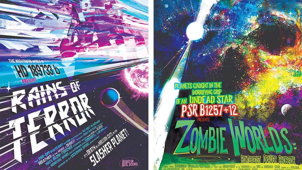 Deux des affiches de la série Galaxy of Horrors. © Nasa/JPL-Caltech