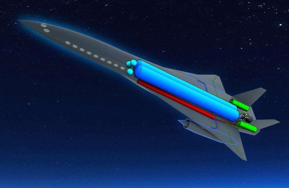Dans le Zehst, les réservoirs occupent beaucoup de place : en bleu, celui renfermant l'hydrogène liquide et, en rouge, l'oxygène liquide. S'y ajoutent ceux renfermant de l'hélium (sphères vertes), utilisé pour la pressurisation de l'oxygène et de l'hydrogène. Ce moteur-fusée sert à grimper et à passer en supersonique. Ceux portant le carburant pour les turboréacteurs (en vert) ne sont pas indiqués. Ces moteurs servent le décollage et l'atterrissage. La croisière (donc l'essentiel du voyage) est assurée par deux statoréacteurs (visibles sous les ailes). © EADS