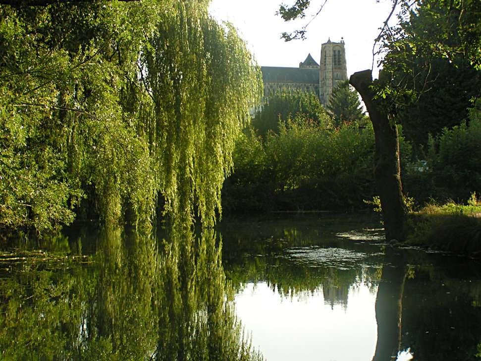Les marais de Bourges, avec une vue sur la cathédrale Saint-Étienne. © Domenico Di Nolfo, Wikimedia Commons, cc by sa 3.0