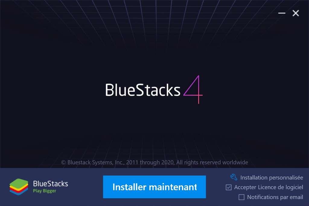 Page de démarrage de l'installateur Bluestacks. © Bluestacks Systems Inc.