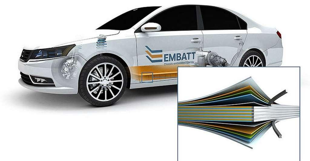 Le concept EMBATT repose sur une plaque bipolaire faite d'une feuille de métal recouverte sur ses deux faces d'un mélange de céramique, de polymère et de matériaux conducteurs. Les cellules de batteries peuvent ainsi être empilées à la manière d'un millefeuille. © EMBATT
