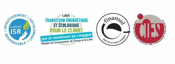 Les labels qui donnent un sens aux investissements et garantissent leur spécificité éthique. © ISR, TEEC, Finansol, Cies