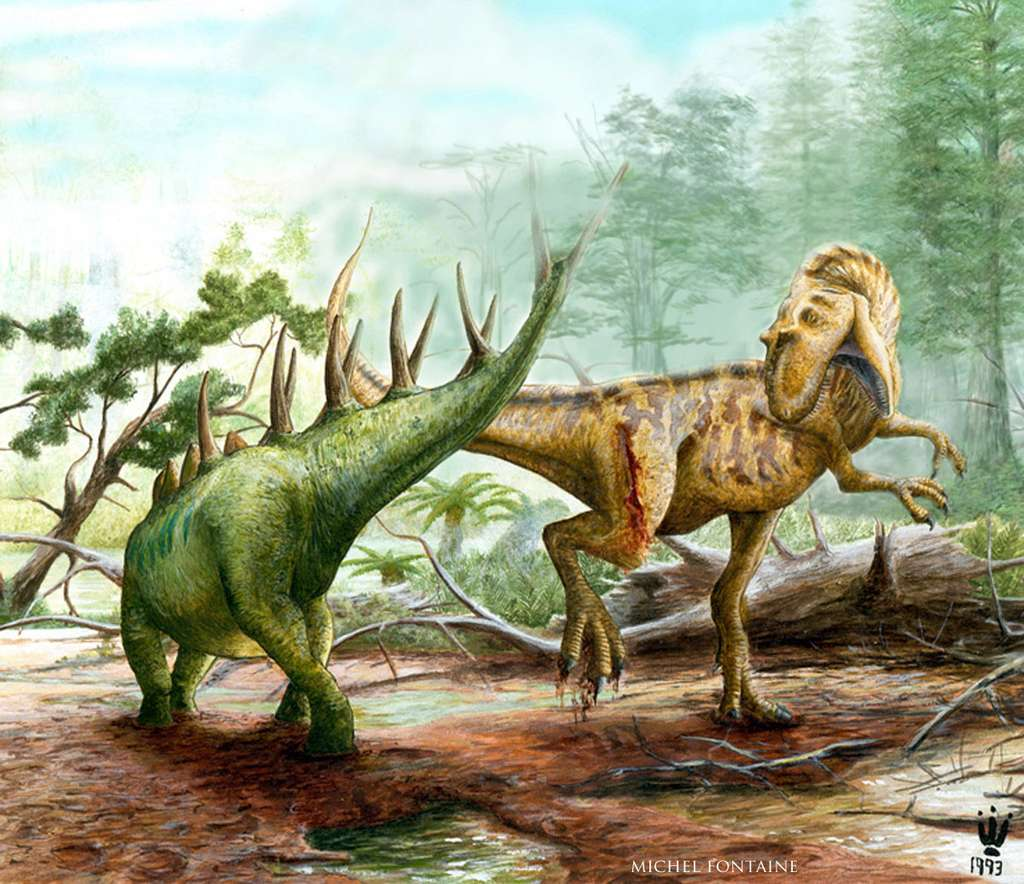 Dessin d'attaque de dinosaures