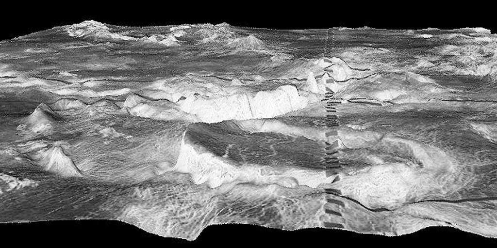 La montagne circulaire au premier plan est une corona de 500 kilomètres dans la région de Galindo de Vénus. Les rectangles sombres sont un artefact. © NASA / JPL / USGS