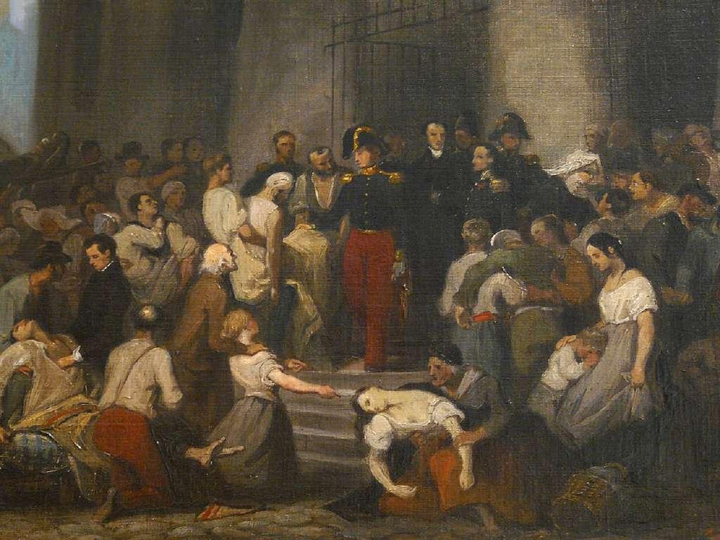 """""""Le duc d'Orléans visitant les malades de l'Hôtel-Dieu pendant l'épidémie de choléra de 1832"""", par Alfred Johannot en 1832. Musée Carnavalet, Paris. © Paris Musées."""