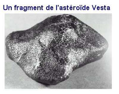 Météorite provenant de l'astéroïde Vesta. © Document New England Meteoritical Services