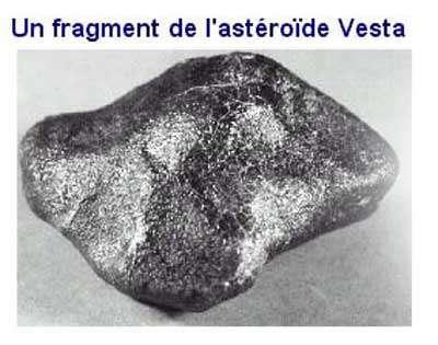 Météorite provenant de l'astéroïde Vesta. © Document New England Meteoritical Services