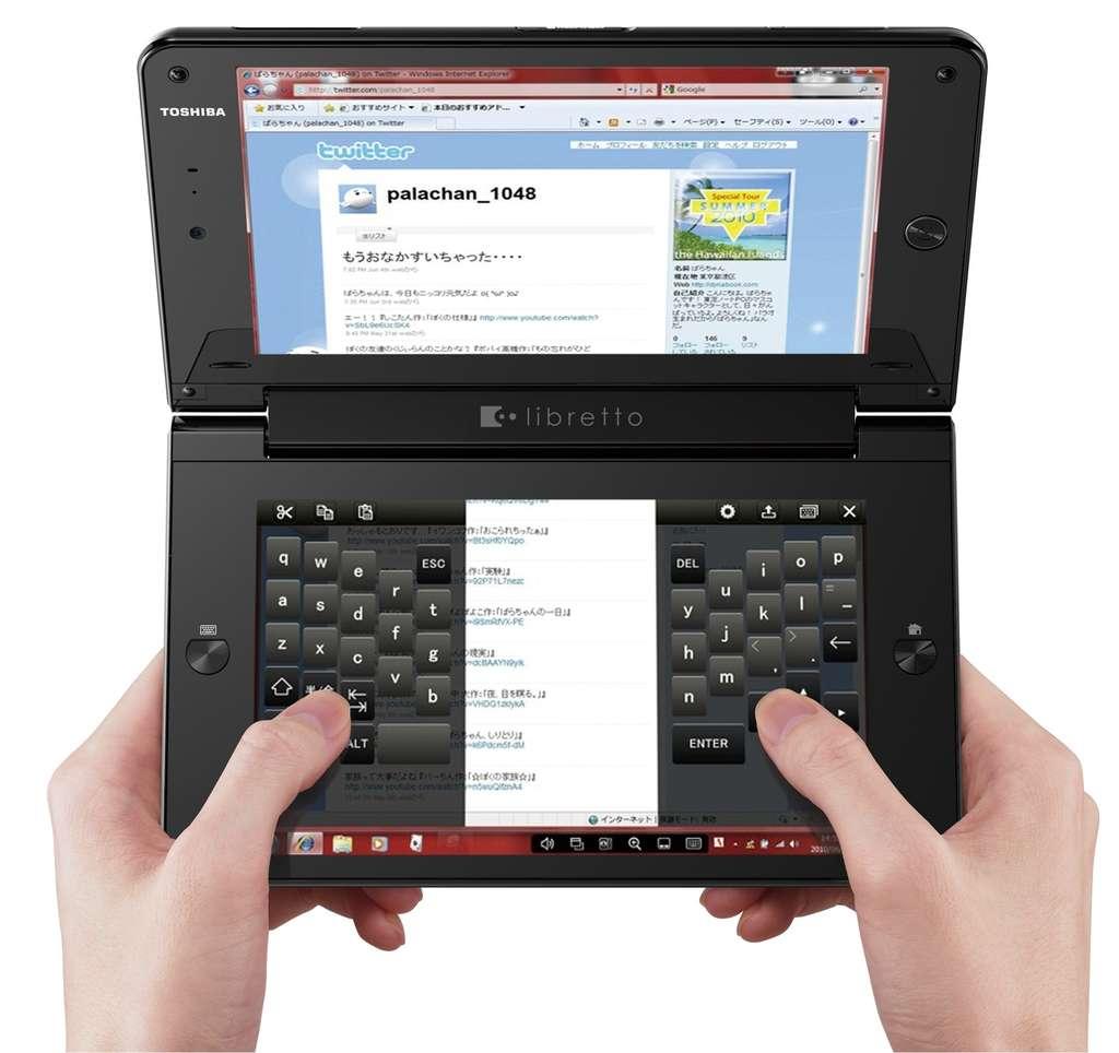 L'un des écrans peut devenir un clavier. © Toshiba