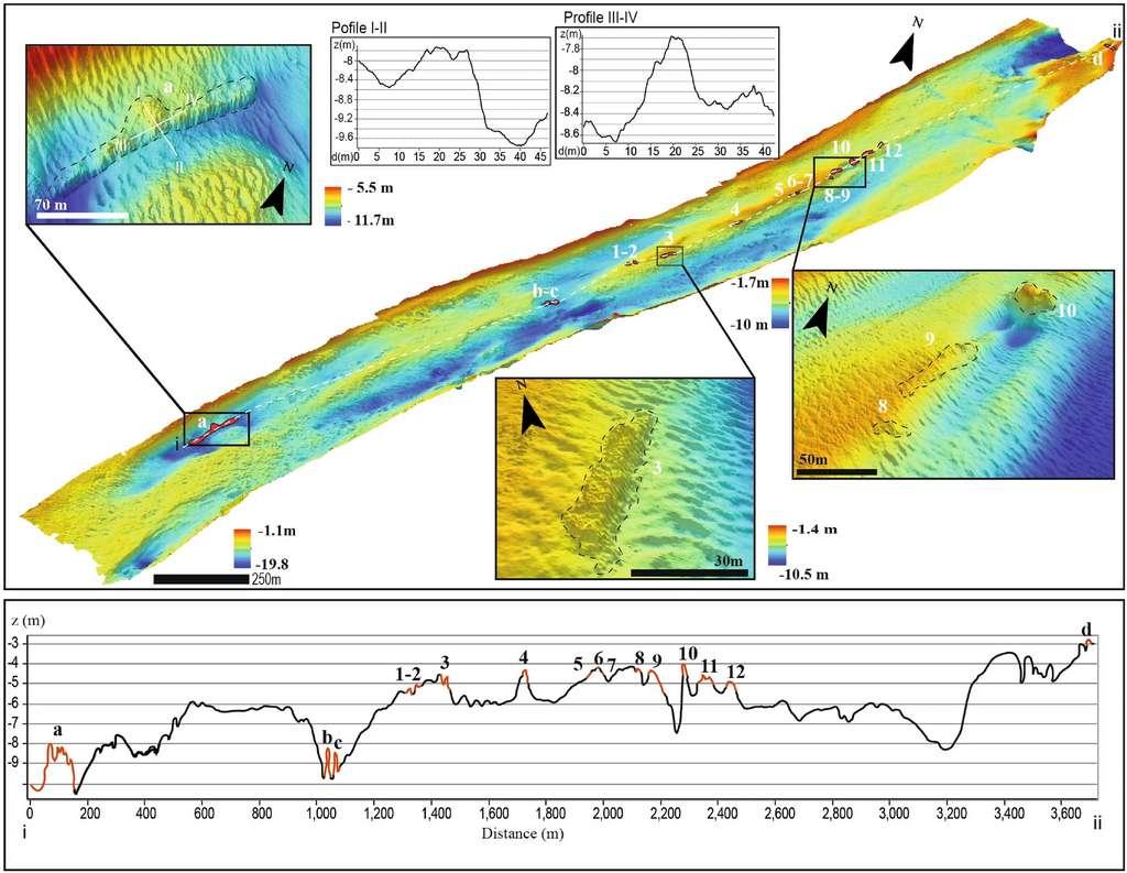 Le relief du fond du canal de Treporti a été exploré et cartographié à l'aide d'un sonar. © Madricardo et al, 2021