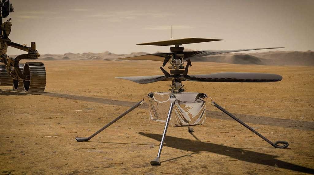 Photo d'artiste de drone-hélicoptère Ingenuity sur la Planète rouge. © Nasa, JPL-Caltech