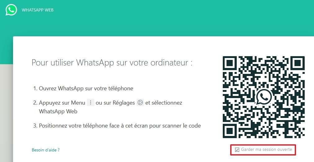 Cliquez sur le lien ci-dessus pour accéder à la page de WhatsApp Web. © Facebook