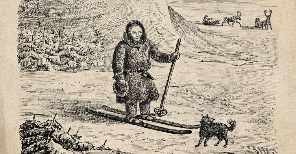 Pendant plusieurs millénaires, la pratique du ski reste l'apanage de quelques peuples vivant dans des régions enneigées. © Nasjonalbiblioteket from Norway, Wikipedia, Domaine public