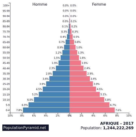 Pyramide des âges en Afrique. © PopulationPyramid.net