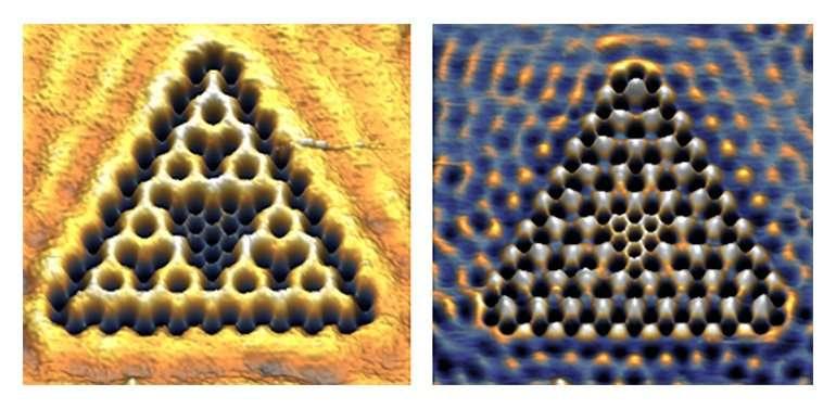 Les chercheurs de l'université d'Utrecht ont calculé que les fonctions d'onde de ces électrons héritent de la dimension fractionnaire dans laquelle ceux-ci sont confinés. © Kempkes et al., Université d'Utrecht
