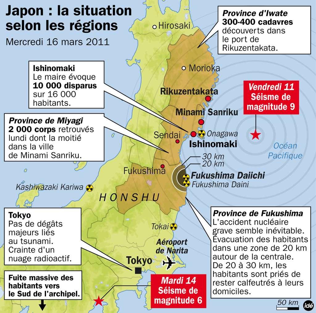 Le vendredi 11 mars, le séisme le plus important qu'ait connu le Japon engendre une vague gigantesque. Le tsunami, désormais historique, déferle sur les régions côtières de l'île. © Idé