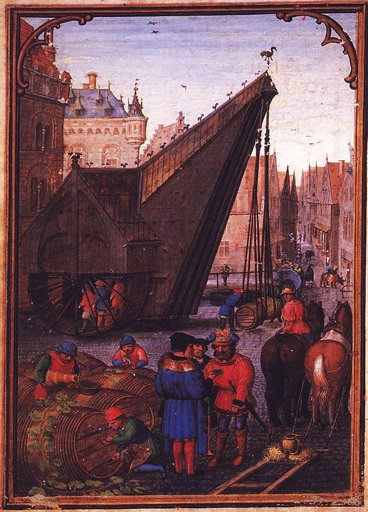 Ville de Bruges, marché au vin, dans Calendrier flamand de Simon Bening, XVIe siècle. Bibliothèque de l'État de Bavière, Munich. © BPK Berlin, dist. RMN - Grand Palais, image BPK.