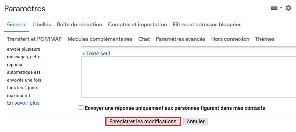 Cliquez sur le bouton « Enregistrer les modifications ». © Google Inc.
