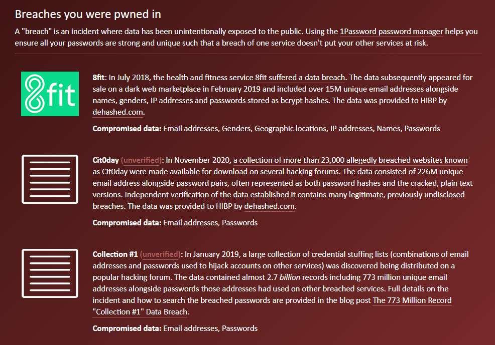 Le site en anglais Have I Been Pwned vous indique à quelle occasion votre e-mail s'est retrouvé piraté. © Futura